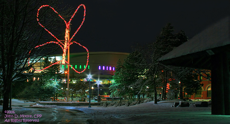 A very cold night, at Riverfront Parks northwest entrance, Spokane, Washington