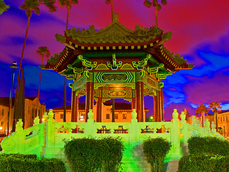Chinese gazebo, downtown Riverside California