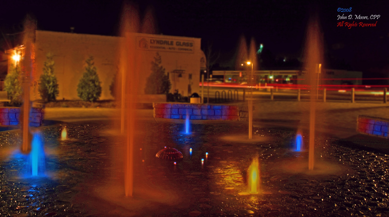 Painting water with light, at the Centennial Riverwalk Park, Ferndale, Washington.