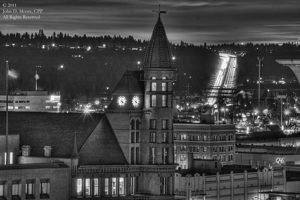 The Cowles building and a partial view of the Parsons building in downtown Spokane