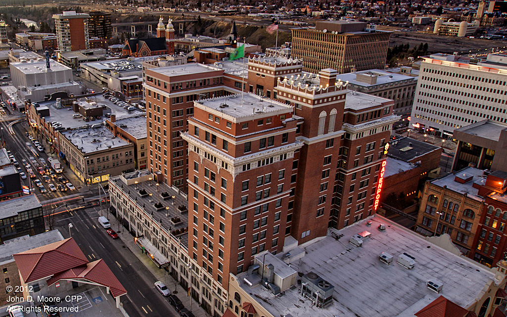 A northwest view of the Davenport Hotel from the roof of the Davenport Hotel Tower
