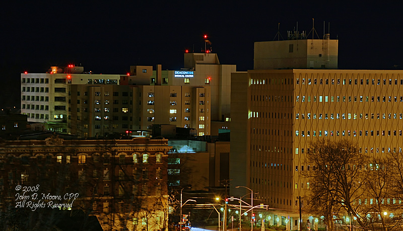 Deaconness Medical Center, on the south edge of downtown, Spokane.