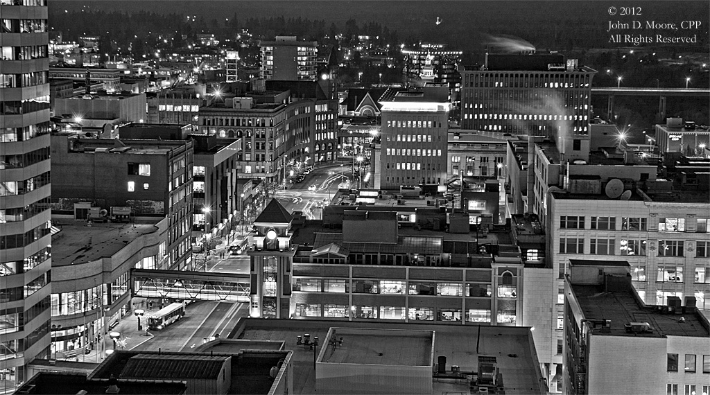 A view of downtown Spokane from the roof of Spokane's Old National Bank building
