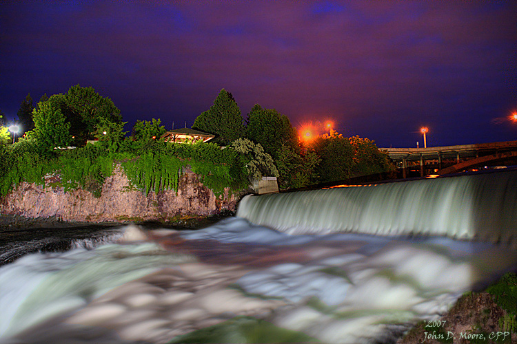 Water flowing over the Spokane River Falls