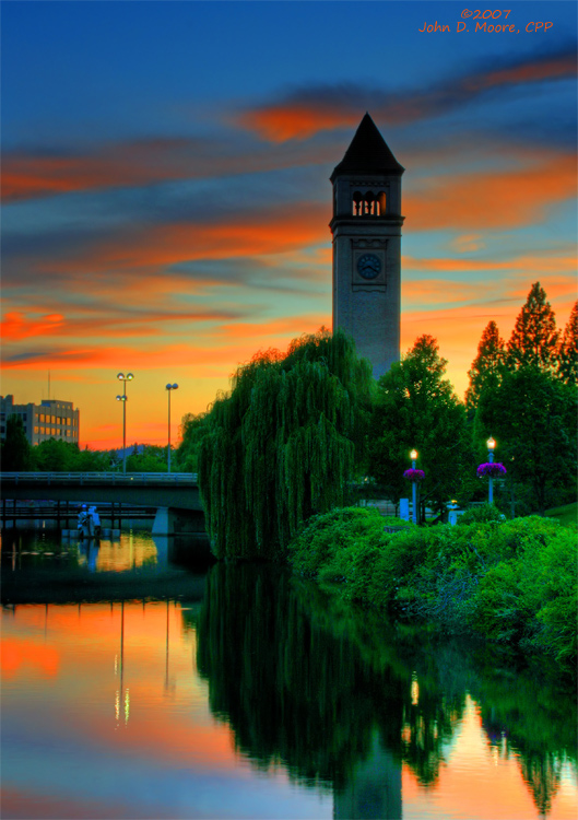 A sunset look at a very recognizeable landmark in Riverfront Park.   Spokane, Washington