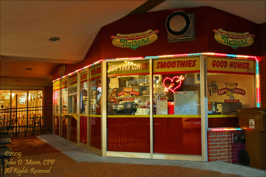 Nathans, in the Parkade Plaza.  A colorful location and display, even after the sun goes down.  Spokane, Washington