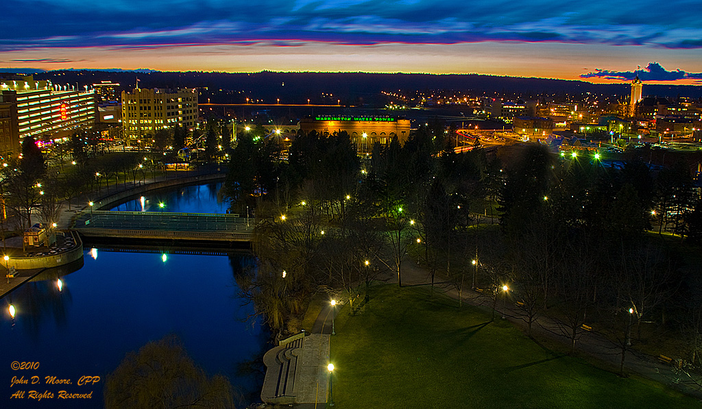 A view west from the top of the Clocktower in Spokane's Riverfront Park,  Spokane, Washington