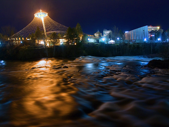North river channel,  over a swollen Spokane River, Spokane, Washington