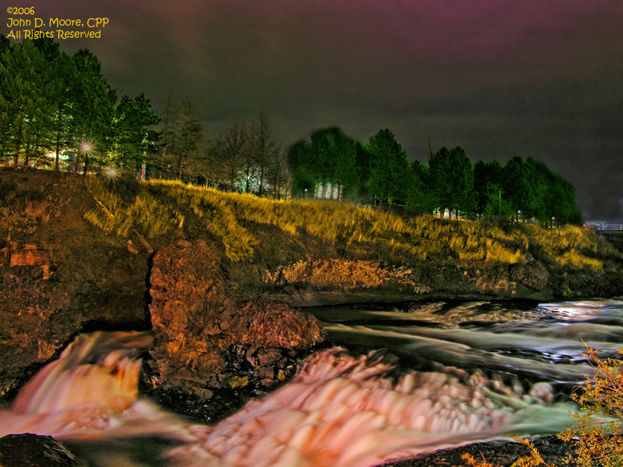 Flowing water, in the north river channel of the Spokane river, Spokane,Washington