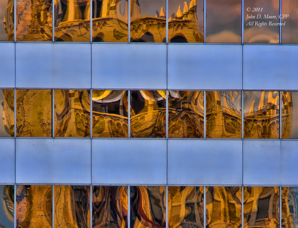 The Reflections of the Paulsen Building as seen in the windows of the Bank of America Building.