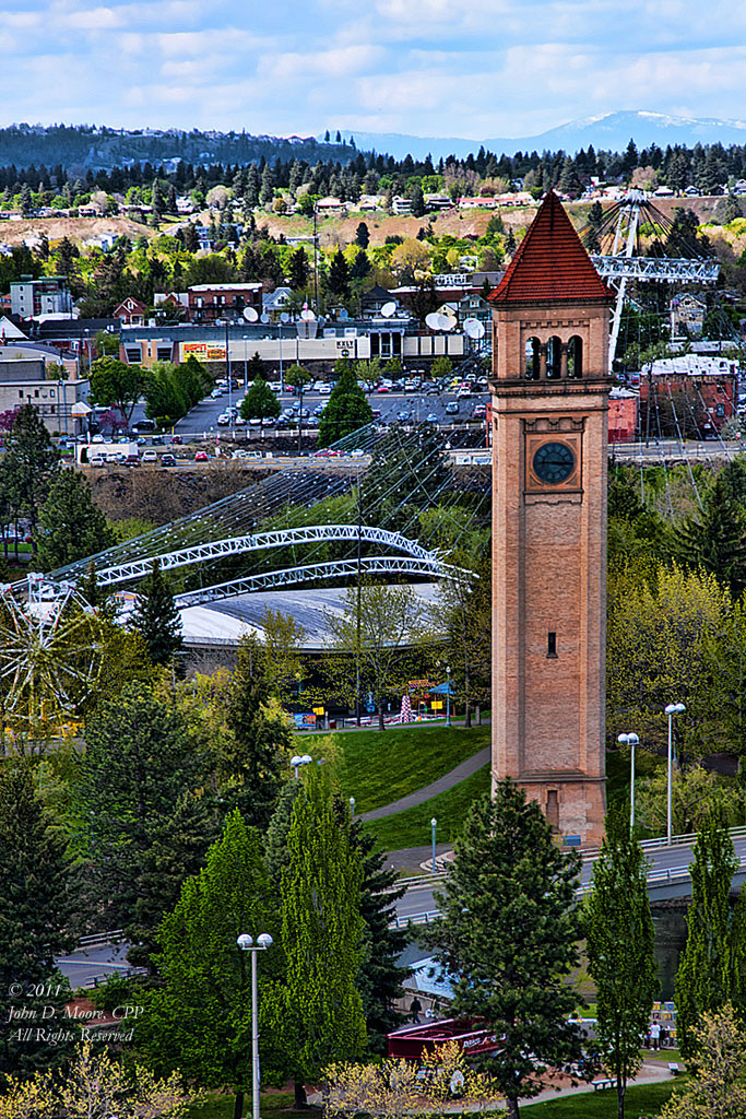 Rooftop view of the Clocktower in Spokane's Riverfront Park.