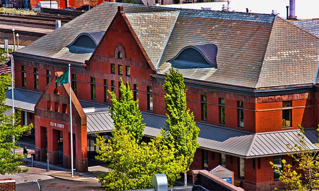 Intramodal Depot in downtown Spokane.  W 221 First Street.  Spokane, Washington