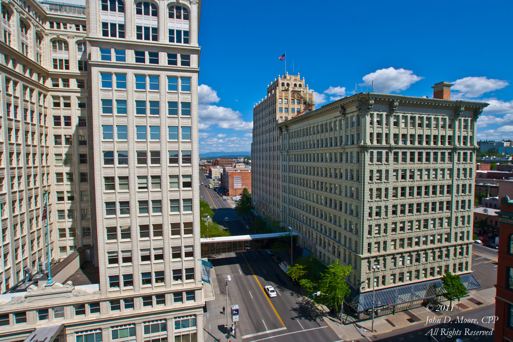 The ONB Building (l), and the Paulsen Building (r), in downtown Spokane.  Spokane, Washington.