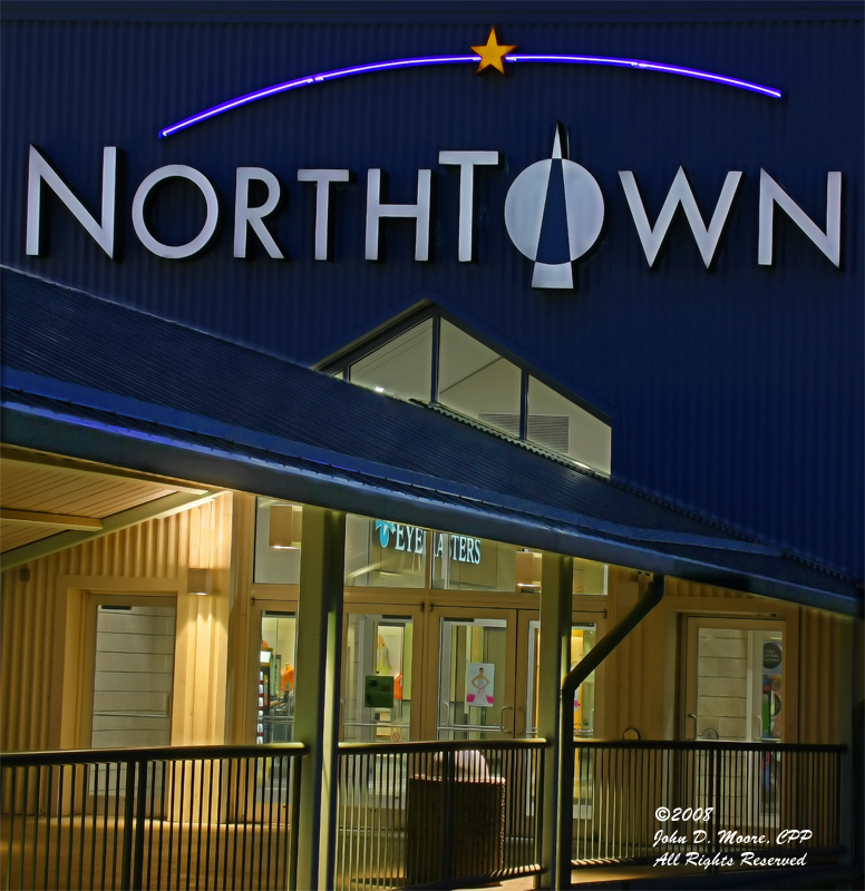 A Southside entrance to Northtown Mall from the upper level of the parking garage.