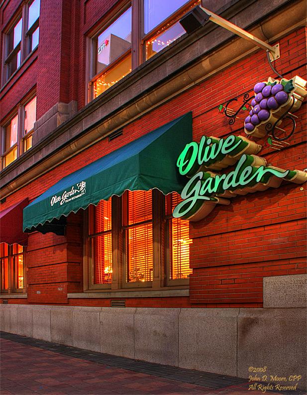 The Olive Garden In Downtown Spokane Just After Sunset Spokane