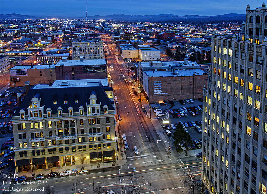 A look to the east in downtown Spokane, from the northern rooftop of the Old National Bank building.