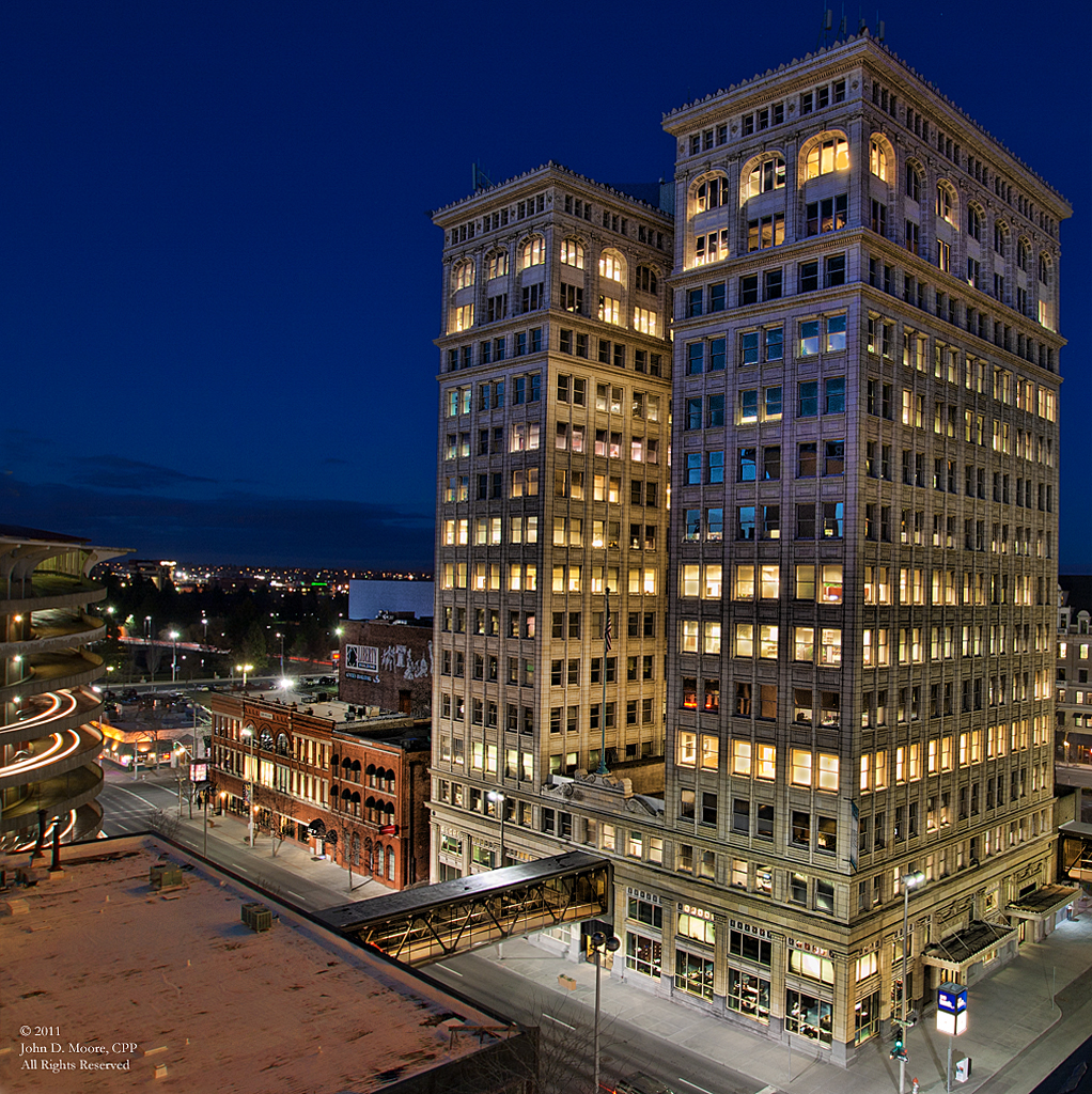 A  view of the Old National Bank building in downtown Spokane,  from the rooftop of the Fernwell building.  Spokane, Washington