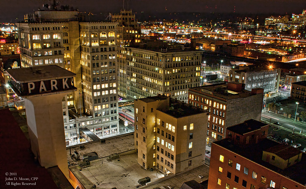 The Parkade building, the ONB building, and a look to the southeast from the roof of the