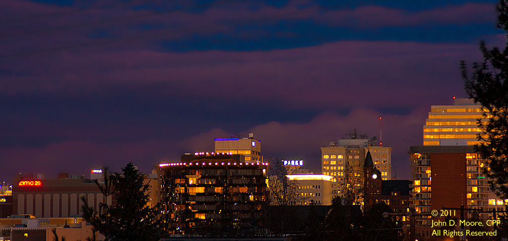 A quick look toward downtown Spokane from the parking lot on the east side of the Northwest Museum of Arts and Culture.    Spokane, Washington