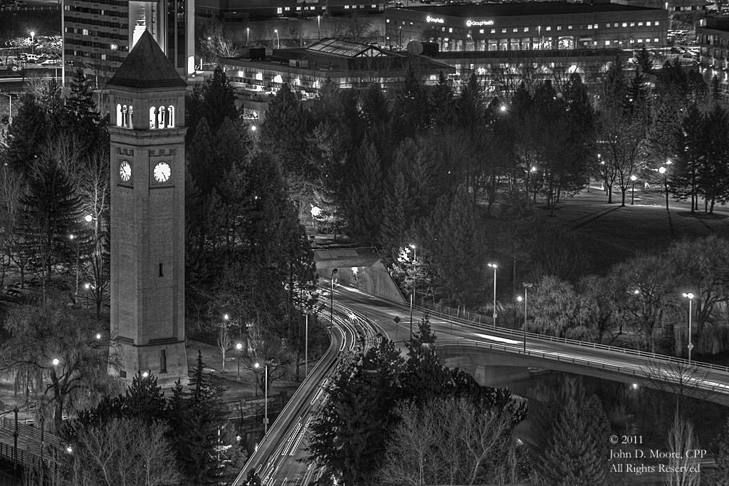 A  view of Spokane's Riverfront Park, from the rooftop of the Bank of America building.  Spokane, Washington