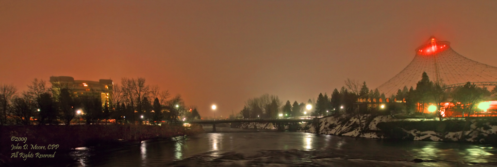 A foggy winter night in Spokane's Riverfront Park