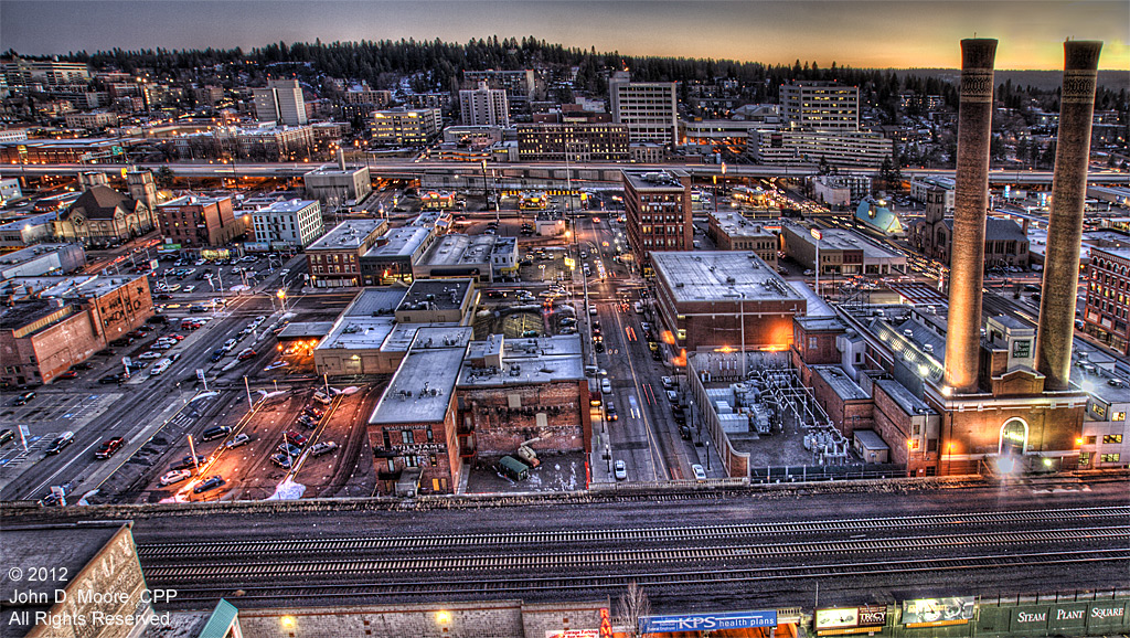 A southern view of downtown Spokane from the roof of the Davenport Hotel Tower