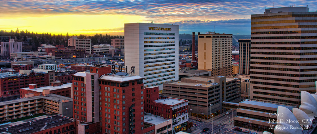 A view of downtown Spokane, to the southwest, from the rooftop of the Old National Bank building.