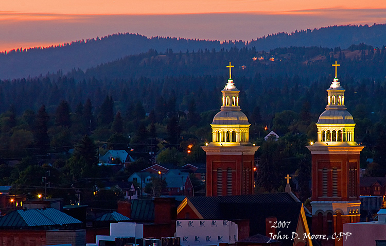 A look northwest at the spires of the Cathedral of Our Lady of Lourdes.  Spokane, Washington