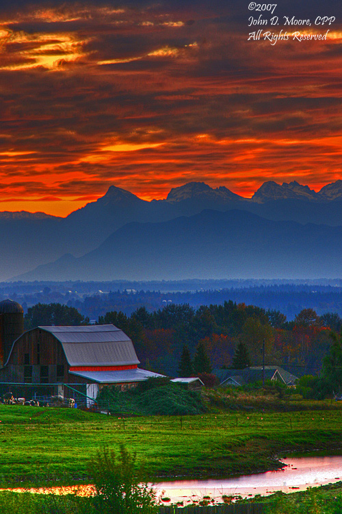 Sunrise at a Ferndale, Washington,  Dairy farm, Spokane Night Scenes