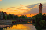 Sunset over the Spokane River, Spokane, Washington