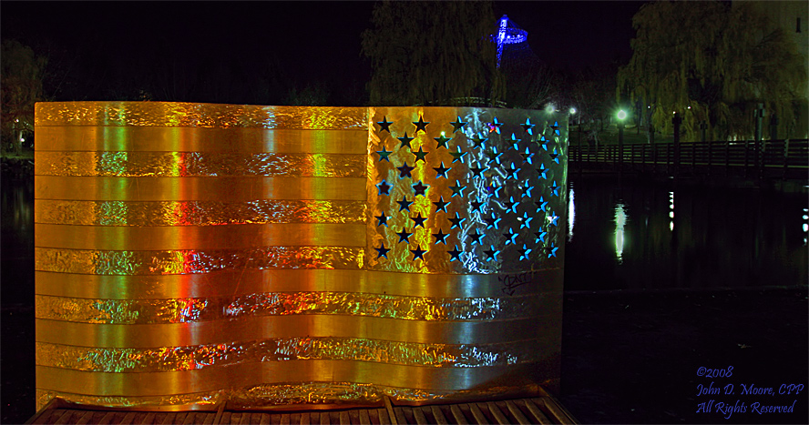A stainless steel sculpture of the US  flag. Spokane, Washington