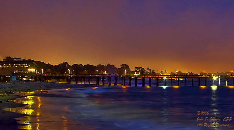 A midnight walk, toward the Ventura, California Pier.