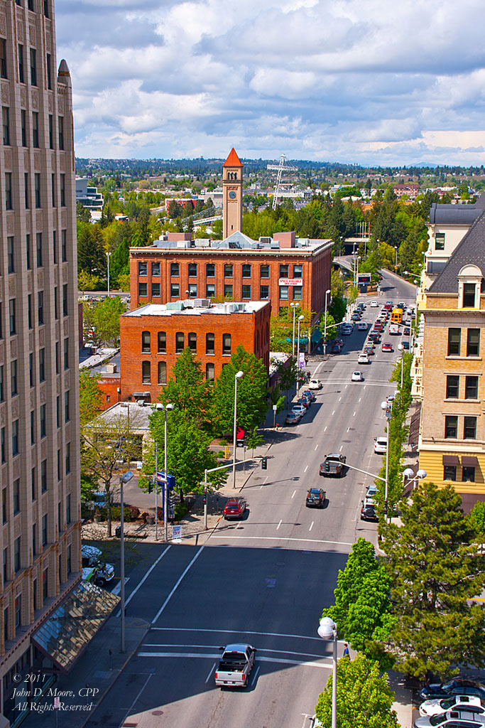 North Washington Street view, toward Spokane's Riverfront Park.