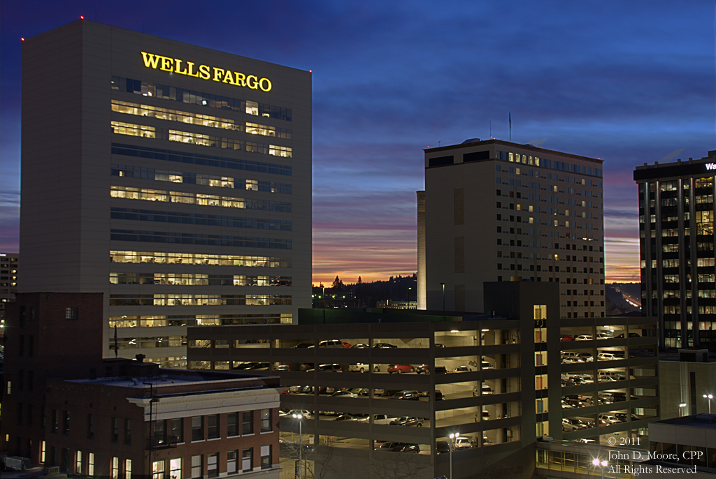 A  view of the Wells Fargo Bank building from the rooftop of the Fernwell building.  Spokane, Washington