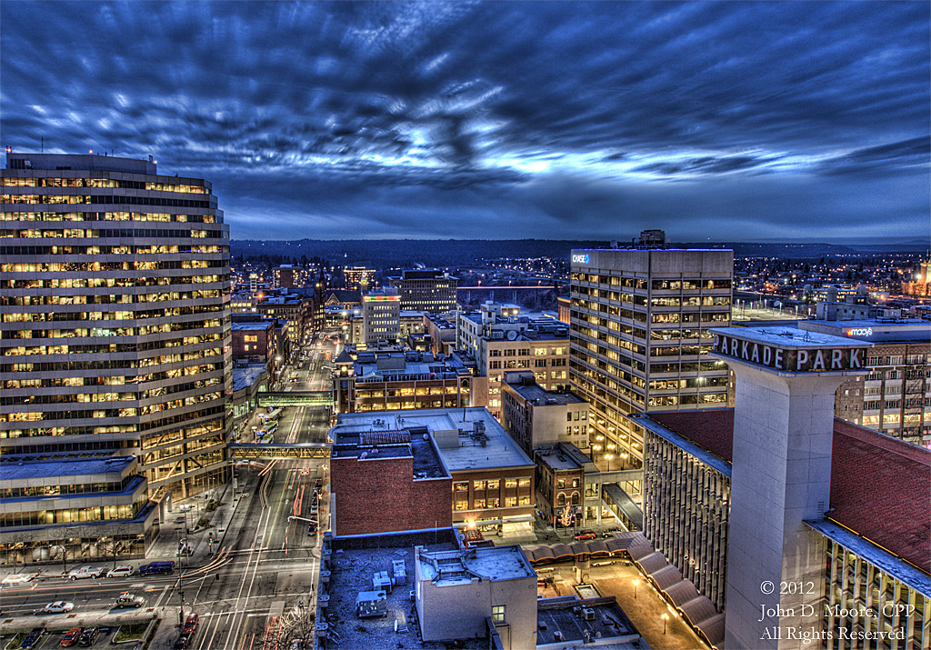 A look to the west in downtown Spokane, from the southern rooftop of the Old National Bank building